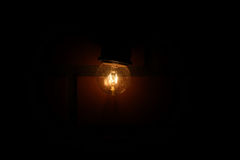 Warm lamp on brick wall. Stock Photography