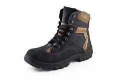 Warm leather boot for traveling in winter Royalty Free Stock Image