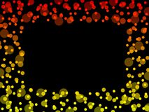 Warm light frame. Frame composed of red orange and yellow light dots stock illustration