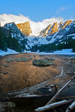 Warm Light on Hallett Peak in Rocky Mountain National Park. Hallett and Flattop peaks basking in the warm sunlight of the morning sunrise in Rocky Mountain Royalty Free Stock Photo