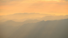 Warm light with mountain layer. Warming light from sun and the shade on mountain layer Stock Photography