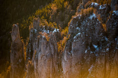 Warm light over the rocks. A warm winter day on the mountains Royalty Free Stock Photo