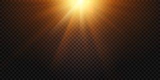 Warm light rays. Magic lights lens flare, sun flash and lamp flares isolated vector illustration. Warm light rays. Magic lights lens flare, sun flash and lamp royalty free illustration