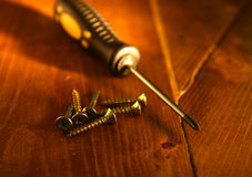 Warm light on screws and screwdriver Royalty Free Stock Photos