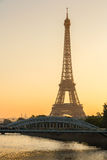 Warm light of sunrise on the Eiffel Tower, Paris, France Royalty Free Stock Image
