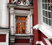 Warm light windows on a cold autumn day. Moscow, early morning. Window of the Novodevichy Convent Royalty Free Stock Photography