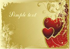 Warm love. Pair of hearts on a gold background with a vegetative ornament Royalty Free Stock Images