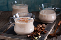 Warm masala tea with spices Stock Photography