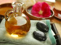 Warm massage oil Royalty Free Stock Images