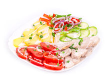 Warm meat salad Stock Images