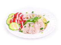 Warm meat salad royalty free stock photography