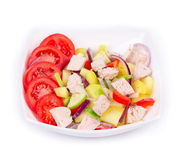 Warm meat salad with vegetables Stock Images