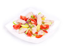 Warm meat salad with vegetables royalty free stock photography