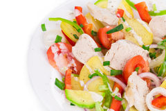 Warm meat salad with vegetables. Stock Images