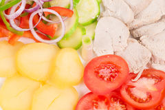 Warm meat salad with vegetables. Royalty Free Stock Photos