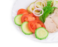 Warm meat salad with vegetables Stock Photos