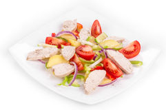 Warm meat salad with vegetables. Royalty Free Stock Photography