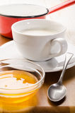 Warm milk in a cup and acacia honey in small bowl. Warm milk in a cup and sweet acacia honey in small bowl Stock Image