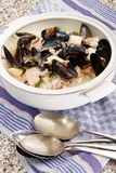 Mixed seafood chowder with scottish mussel Royalty Free Stock Images