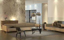 Warm modern interior. Modern living room with light leather sofas and design furniture Stock Photos