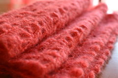 Warm mohair crochet fabric. Close up of a cozy mohair warm crochet scarf Royalty Free Stock Images