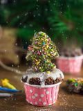 Chocolate Mini cupcake with gingerbread christmastree. Warm mood at home filled with the smells of baking, wood and christmas snow. Dry mint and colorful coconut Stock Images