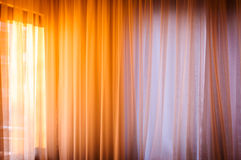 Warm Morning Light On Curtains Stock Images