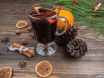 Warm mulled wine - traditional Christmas drink Stock Photos
