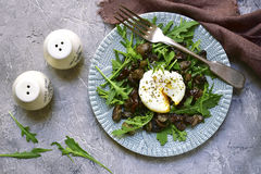 Warm mushroom salad with arugula and poached egg.Top view. Stock Image
