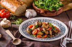 Warm mushroom salad with chilli stock images
