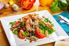 Warm mushroom salad royalty free stock images