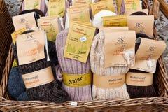 Warm natural woolen alpaka socks for sale Stock Photography