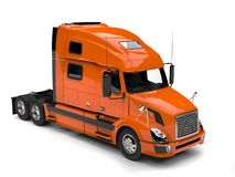 Warm orange modern semi trailer truck - top down view royalty free illustration