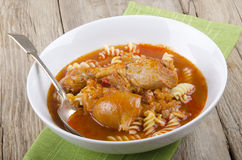 Warm paprika thighs with noodle Royalty Free Stock Image