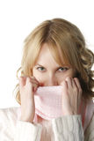Warm pink neckscarf Royalty Free Stock Image