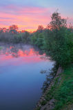 Warm pink sky over the Narew river, Poland. The morning landscape with fog and warm pink sky over the Narew river, Poland royalty free stock image