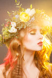 Warm portrait of beauty girl with wreath Royalty Free Stock Image