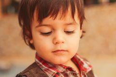 Warm portrait of toddler with sweet face stock photography