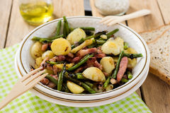 Warm potato salad with green beans and bacon Royalty Free Stock Image
