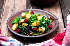 Warm pumpkin salad with raspberries and mixed leaf of arugula, chard, in brown plate on wooden rustic background. Close up. Warm pumpkin salad with raspberries Stock Photos
