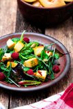 Warm pumpkin salad with raspberries and mixed leaf of arugula, chard, in brown plate on wooden rustic background. Close up. Warm pumpkin salad with raspberries Royalty Free Stock Images