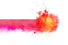 Warm Red watercolor abstract border Stock Photo