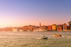 Warm Reddish Sunset Over Amazing Venetian Grand Channel, Venice, Italy, Summer Time Stock Image