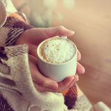 Warm retro coffee break Royalty Free Stock Image