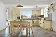 Warm retro styled kitchen stock photography