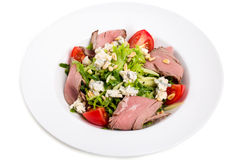 Warm roast beef salad with goat cheese. Stock Photo
