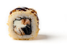 A warm roll with a smoked eel Royalty Free Stock Photos