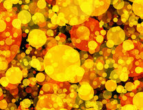 Warm Round Shapes in Chaotic Arrangement. Bokeh backgrounds Royalty Free Stock Images