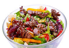 Warm salad with chicken liver Stock Image