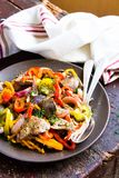 Warm salad with chicken liver and sweet pepper. Selective focus Royalty Free Stock Image